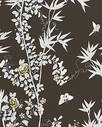 Jardin De Chine Espresso by  Scalamandre Wallcoverings