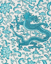 Chien Dragon Linen Print Turquoise by