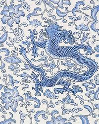 Chien Dragon Linen Print Hyacinth Blue by