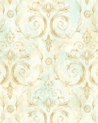 Casimir Gold turquoise by  Scalamandre Wallcoverings