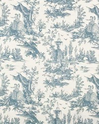 French Country Toile Fabric  Highland 1 Delft