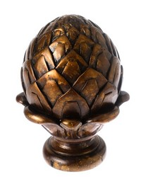 Artichoke Curtain Rod Finial Pecan 19 by