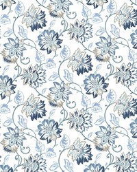 Blue Jacobean Fabrics  Brookmere Blue