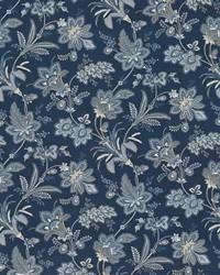 Blue Jacobean Floral Fabric  Evanston Indigo