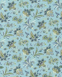 Green Jacobean Fabrics  Evanston Seaspray