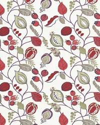 Multi Jacobean Fabrics  Gardens Edge Berry
