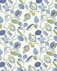 Blue Jacobean Fabrics  Gardens Edge Bluebell