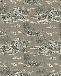 Silver French Country Toile Fabric  Grand Toile Pewter