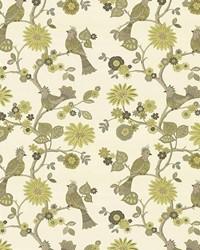 Green Birds Fabric  Lost Pines Lemongrass