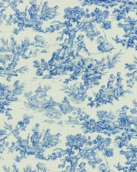 Blue French Country Toile Fabric  Scenic Toile Blue