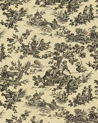 Black French Country Toile Fabric  Scenic Toile Domino