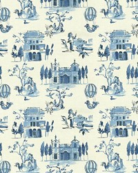 Blue French Country Toile Fabric  Villa Tuscano Blue