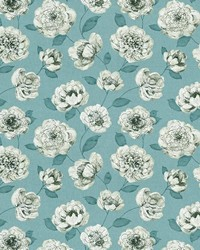Blue Modern Floral Designs Fabric  Waterscape Turquoise
