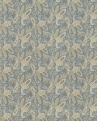 Blue Classic Paisley Fabric  Willow Paisley Blue