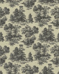 Grey French Country Toile Fabric  Abington Garden Slate