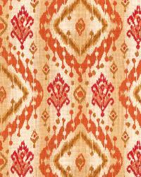 Orange / Spice Isabelle De Borchgrave Fabric  Ikat Paisley Canyon