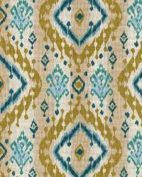Aqua / Teal Isabelle De Borchgrave Fabric  Ikat Paisley Teal
