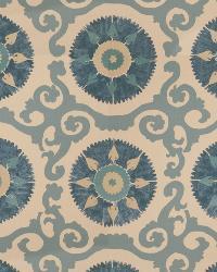 Blue Isabelle De Borchgrave Fabric  Kaftan Suzani Ocean