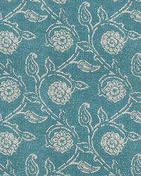 Aqua / Teal Isabelle De Borchgrave Fabric  Gala Floral Teal