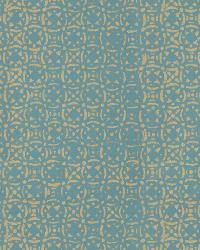 Metallic Isabelle De Borchgrave Fabric  Venetian Tile Teal