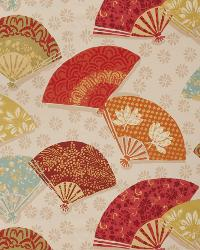 Orange / Spice Oriental Fabric  Exotic Fans Canyon