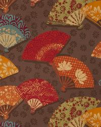 Brown Oriental Fabric  Exotic Fans Autumn