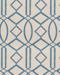 Blue Isabelle De Borchgrave Fabric  Egyptian Lattice Ocean