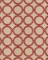 Red Isabelle De Borchgrave Fabric  Circle Suzani Merlot