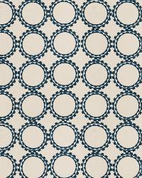 Blue Isabelle De Borchgrave Fabric  Circle Suzani Navy