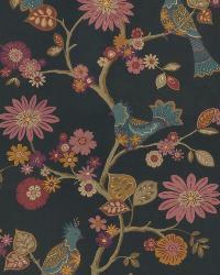 Black Oriental Fabric  03184 Charcoal