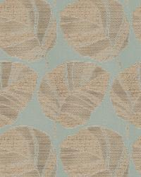 Aqua / Teal Oriental Fabric  Vidal Leaf Sea Mist