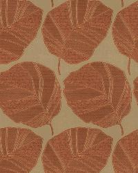 Orange / Spice Oriental Fabric  Vidal Leaf Sienna