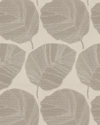 Grey / Linen Oriental Fabric  Vidal Leaf Silver