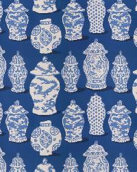 Blue Oriental Fabric  Canton Cobalt Blue