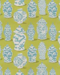 Green Oriental Fabric  Canton Lime Turquoise