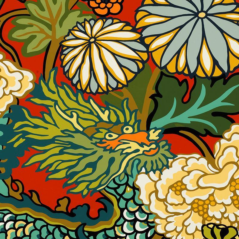 Schumacher Wallpaper Chiang Mai Dragon Lacquer Wallpaper