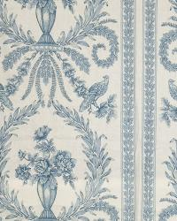 Blue French Country Toile Fabric  Doucette Blue