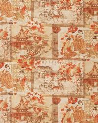 Orange / Spice Oriental Fabric  Zaki Kimono Persimmon