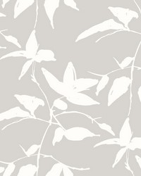 Persimmon Leaf Wallpaper Grey by