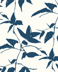 Persimmon Leaf Wallpaper Blue  White by