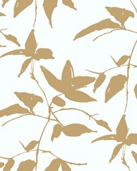Persimmon Leaf Wallpaper Gold  White by