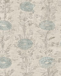 French Marigold Wallpaper Blue  White by