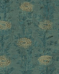 French Marigold Wallpaper Teal  Gold by