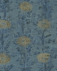 French Marigold Wallpaper Blue  Gold by