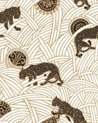 Tibetan Tigers Wallpaper White  Black  Gold by