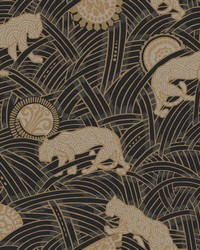 Tibetan Tigers Wallpaper Black  Taupe  Gold by
