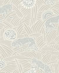 Tibetan Tigers Wallpaper White  Grey by