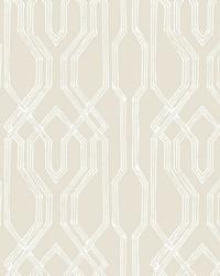 Oriental Lattice Wallpaper Beige  White by