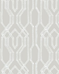 Oriental Lattice Wallpaper Taupe  White by
