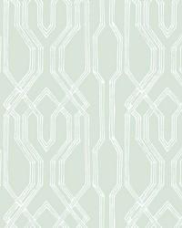 Oriental Lattice Wallpaper Green  White by